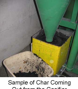 Sample of Char Coming Out of the Gasifier