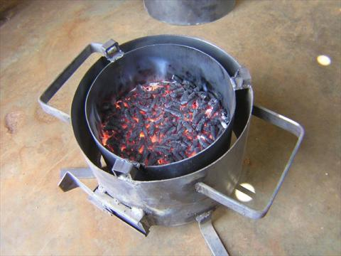 Jiko Bomba, lower chamber, where charred pellets can be used for low temperature Cooking