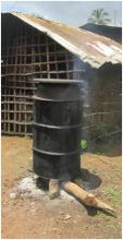 Figure 1: first step of processing palm oil - cooking in a big drum