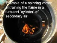 The fire is circular because it is spinning rapidly, though pushed to the side by the way the fuel happened to be sitting. The spin adds turbulence without a fan and assists in keeping the flame away from the combustion chamber wall.