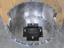 IFB stainless liner school rocket stove skirt detail